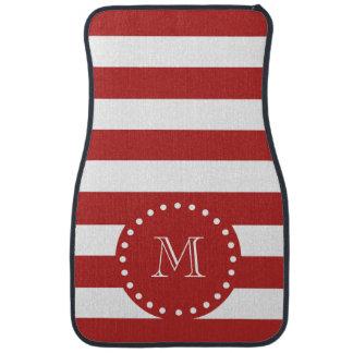 Rotes weißes Streifen-Muster, Ihr Monogramm Auto Fussmatte