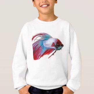 Rotes weißes u. Blau (Fische auf weißem Sweatshirt