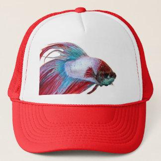 Rotes weißes u. Blau (Fische auf weißem Truckerkappe