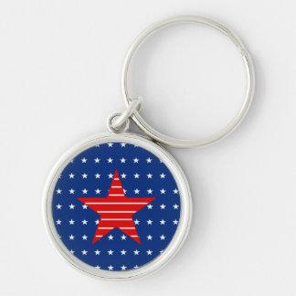 Rotes weißes u. blau, Sterne u. Streifen Schlüssel Silberfarbener Runder Schlüsselanhänger