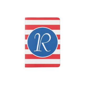 Rotes weißes u. blaues Monogramm Passhülle