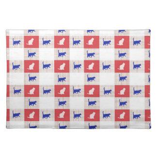Rotes, weißes u. blaues Schachbrett-Katzen-Muster Stofftischset