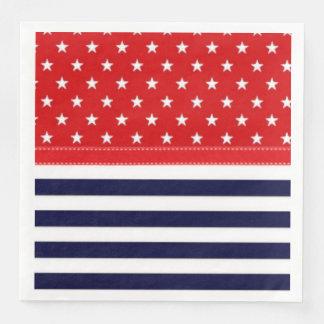 Rotes weißes und Blau mit Weiß-Sternen u. Streifen Papierservietten