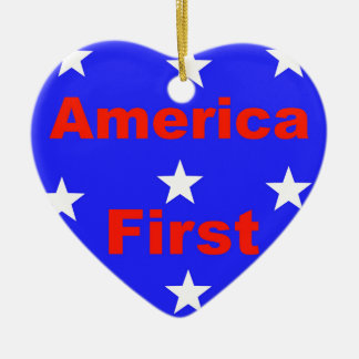 """Rotes, weißes und blaues """"Amerika zuerst"""" entwirft Keramik Ornament"""
