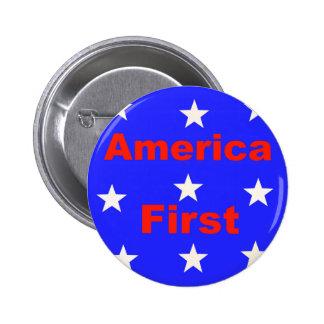 """Rotes, weißes und blaues """"Amerika zuerst"""" entwirft Runder Button 5,1 Cm"""