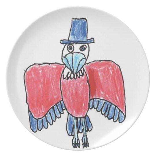 Rotes, weißes und blaues Eagle 1 Melaminteller
