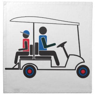 rotes, weißes und blaues Familien-Golfmobil PTC GA Stoffserviette