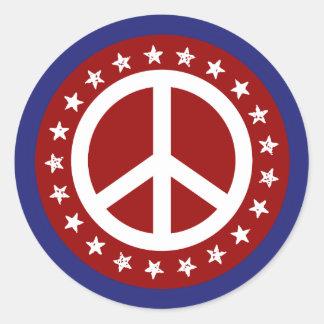 Rotes weißes und blaues Friedenszeichen und Runder Aufkleber