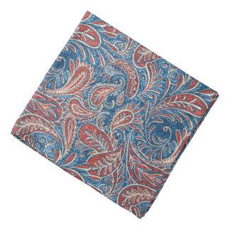 Rotes, weißes und blaues Imitat-Denim Paisley Halstuch