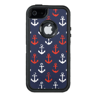 Rotes weißes und blaues Marine-Muster OtterBox iPhone 5/5s/SE Hülle