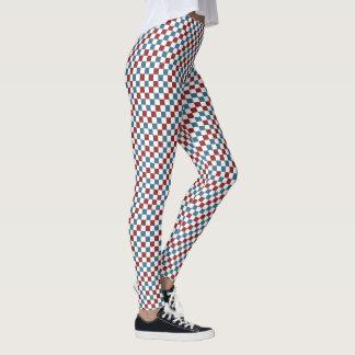 Rotes weißes und blaues Schachbrett-Muster Leggings