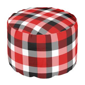 Rotes weißes und schwarzes Checkered kariertes Hocker