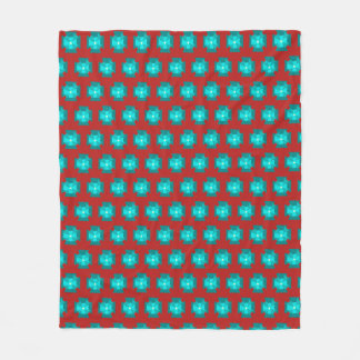 Rotes WithTeal Blumenmuster Fleecedecke