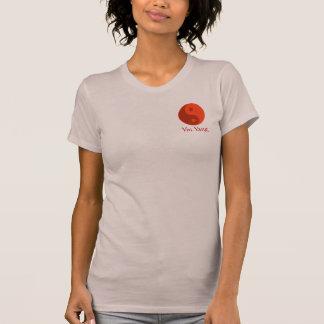 Rotes Yin Yang Energie-Balancen-Symbol-Yoga T-Shirt