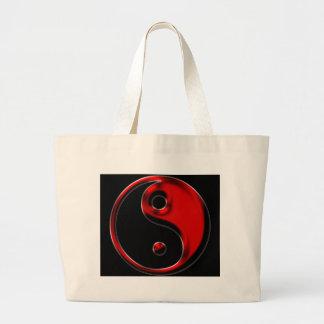 Rotes Yin Yang Jumbo Stoffbeutel