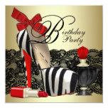 Rotes Zebra-hohe Fersen-Schuh-Schwarzesrotes Einladungskarte