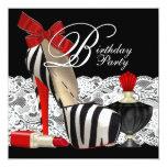 Rotes Zebra-hohe Fersen-Schuh-Schwarzesrotes Ankündigungskarten