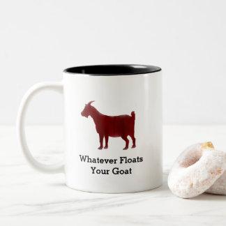 Rotes Ziegen-Aquarell schwimmt Ihre Ziege Zweifarbige Tasse