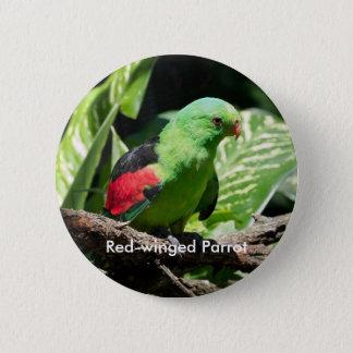 Rotgeflügelter Papagei auf Ast Runder Button 5,7 Cm