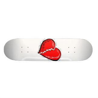 Rotgraphik des defekten Herzens Skateboard Bretter