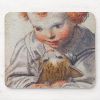 Rothaariges Kind mit Katze Mousepad