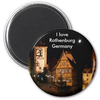 Rothenburg Deutschland im Mondschein Runder Magnet 5,7 Cm