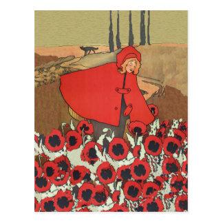 Rotkäppchen, das Mohnblumen-Postkarte auswählt Postkarte