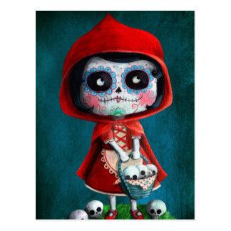 Rotkäppchen Dia de Los Muertos Little Postkarte