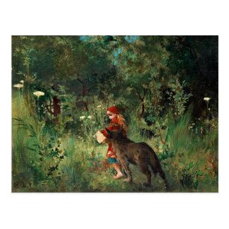 Rotkäppchen mit Wolf Postkarte