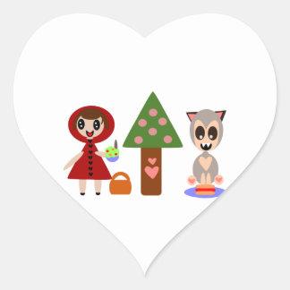 Rotkäppchen-Picknick Herz-Aufkleber