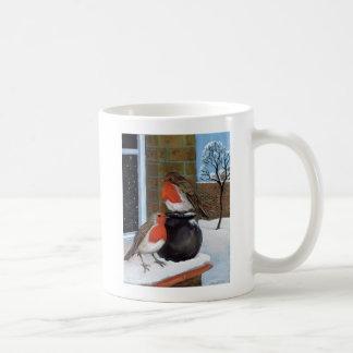 Rotkehlchen im Schnee Kaffeetasse