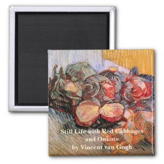 Rotkohl-Zwiebeln Van Gogh, Vintages noch Leben Quadratischer Magnet