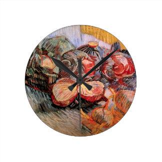 Rotkohl-Zwiebeln Van Gogh, Vintages noch Leben Runde Wanduhr