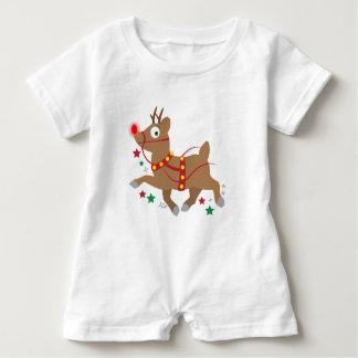 Rotnasiges Ren am Weihnachten Baby Strampler