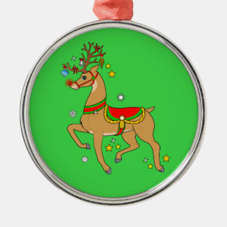 Rotnasiges Ren frohe Feiertage Rundes Silberfarbenes Ornament