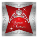 Rotsilberner Tiara 16. Geburtstag-Bonbon-16 Personalisierte Einladungskarten