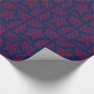 Rotsterne auf blauem mit Ziegeln gedecktem Papier Geschenkpapier