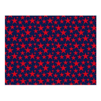 Rotsterne auf blauer Grußkarte Postkarte