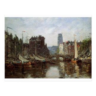 Rotterdam, Börse Le Pont de durch Eugene Boudin Postkarten