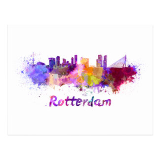 Rotterdam skyline im Watercolor Postkarte