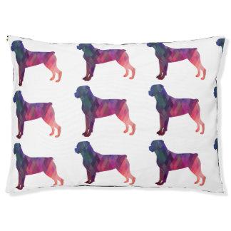 Rottweiler bunte geometrische Muster-Silhouette Haustierbett