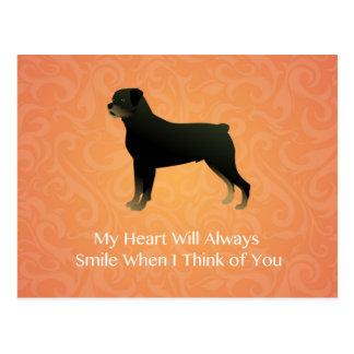 Rottweiler - denkend an Sie - Haustier-Denkmal Postkarte