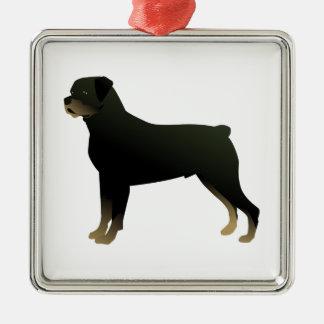 Rottweiler grundlegende silbernes ornament