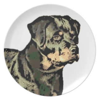 Rottweiler Hund Flache Teller