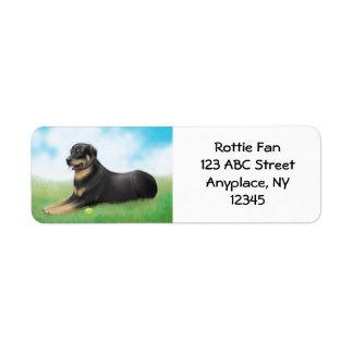 Rottweiler Hund und sein Ball-Aufkleber
