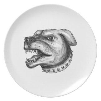Rottweiler Hundekopf-Knurrentätowierung Teller
