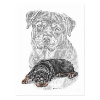 Rottweiler Hundekunst Postkarte