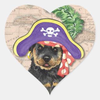 Rottweiler Pirat Herz-Aufkleber