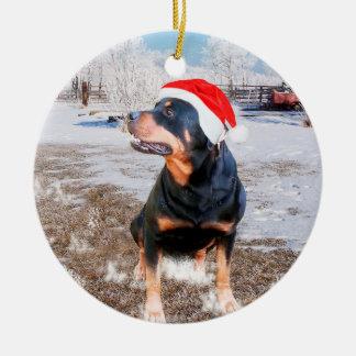 Rottweiler Schnee-Weihnachtsfeiertags-Verzierung Keramik Ornament