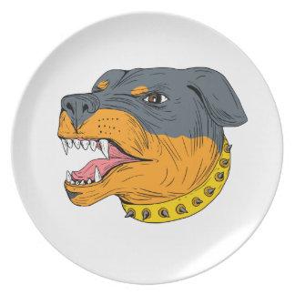 Rottweiler Schutz-Hundekopf-aggressives Zeichnen Teller